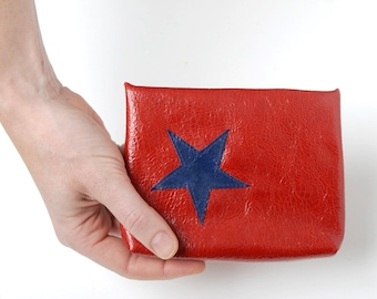 """Red leather pouch with blue star, Red and dark blue purse, Red leather purse, MALAM, 6x5"""" - 15x12"""