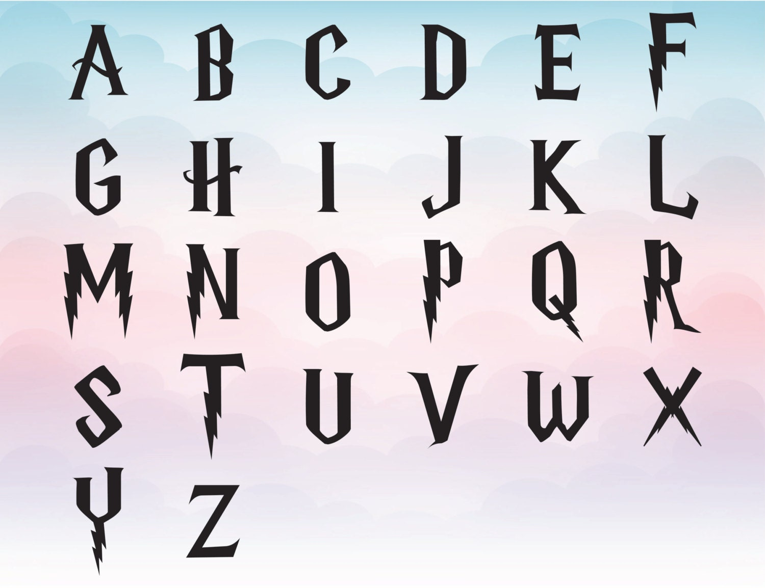 harry potter svg font clipart harry potter alphabet for harry potter fonts alphabet