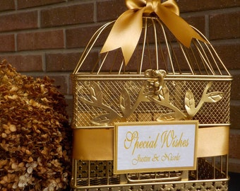 Gold Bird Cage Wedding Card Holder, Shower Cards, Wedding Cards, Custom Colors, Personalized Shower Card Holder, Shower Money Holder