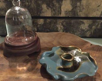 Candle holder Ceramic Gold Blue Brown