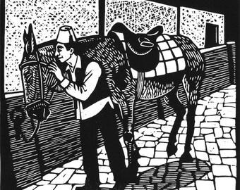 The Mule Whisperer - original linoleum block print