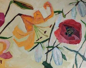 Lily and poppies original oil painting