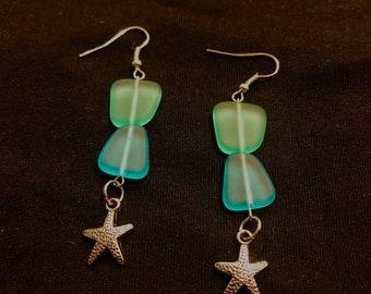 Sea glass earrings with starfish pendant