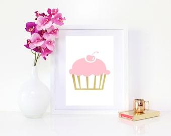 DIGITAL DOWNLOAD, Cupcake Art, Cute Cupcake Art, Pink Cupcake, Gold Cupcake, Cupcake Wall Decor, Cupcake, Baby Pink Cupcake