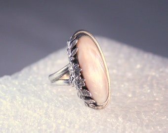 Vintage Mother of Pearl Sterling Ring Big Sterling Silver Palest Pink Shell