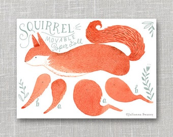 Squirrel Articulated Paper Doll, Illustrated Print, Puppet, Craft, Decoration, Scrapbooking