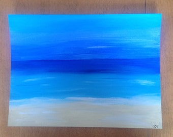 Acrylic painting ~ Ocean Beach ~ original hand made art ~ wall art