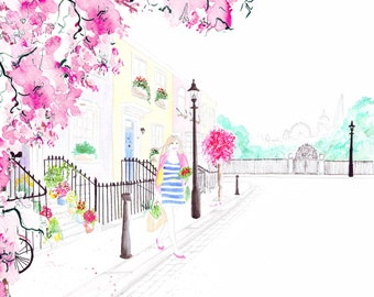 Digital Download - Watercolour Fashion Illustration Titled Strolling through Primrose Hill