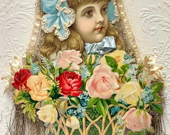 WAS 359.95/SAVE 110.00!! Large Girl in Bonnet with Glorious Basket of Roses Paper and Tinsel Ornament PA18001