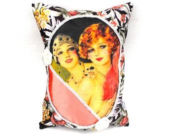 Flirty Flappers Pillow Roaring Twenties Era Gatstby Lady Pin Up Girls Handmade Pink Floral Art Deco Home Decor White Satin Handsewn Rosettes