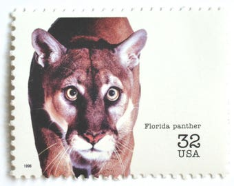 10 Florida Panther Postage Stamps // Unused 32 Cent Endangered Species Stamps