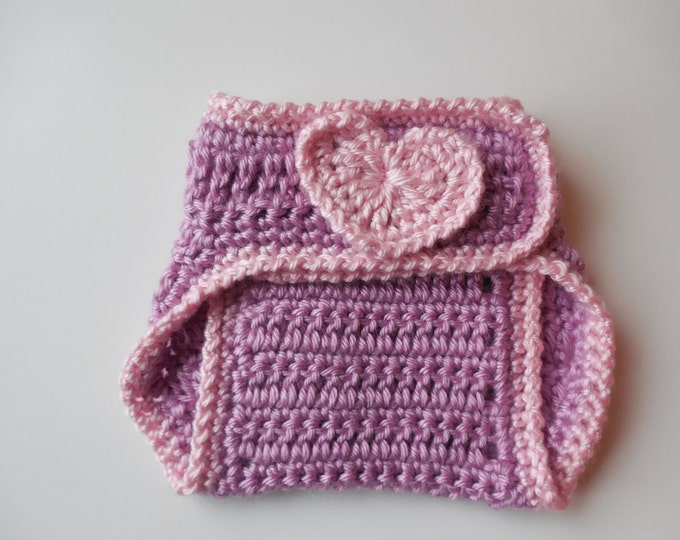 Purple Diaper Cover - with Pink Hearts - Baby - 0 to 3 Months - Handmade Crochet - Ready to Ship