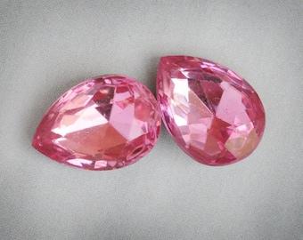 18x13mm VINTAGE Rose Pear Shaped Glass Gems Jewels Stones, Foiled Backs, Quantity 2