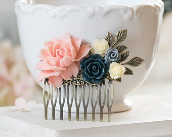 Bridal Hair Comb Blush Pink Gray Ivory Navy Blue Wedding Country Wedding Woodland Wedding Hair Accessory Bridesmaid Gift Bridal Hairpiece