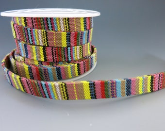 Woven Native Flat Cotton Cord, Pink Multicolors, 10mm Wide, By the Inch, Boho Bracelets, Hatbands, Belts, Tribal Designs
