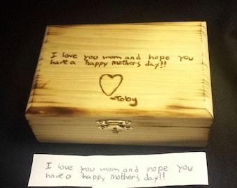 Hand engraved keepsake box with child's handwritten note