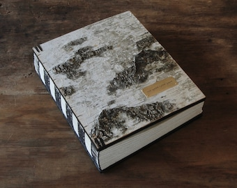 Large Vacation Home Guestbook  Rustic Cabin Guestbook wood book  birch bark- Lake House Mountain House  unique gift - made to order