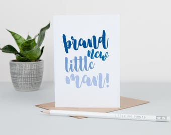 New Baby Boy Card - Brand New Baby Card - Baby Boy Cards - Brand New Little Man Card - Congratulations New Baby Card