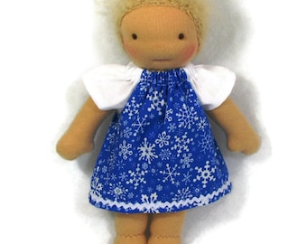Doll Clothes, snowflake dress, 8 to 9 inch doll dress in blue and white