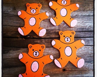 set of 4 Cubs wooden orange 34mm x 30mm