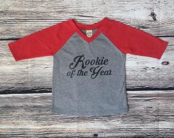 Rookie of the year birthday shirt, raglan birthday shirt, first birthday shirt, personalized shirt