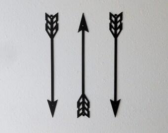 Small Arrow Decor, Metal Art, Wall Decor, Set of Three, Home Decor, American Indian, Metal Arrow Decor, Archery, Several sizes