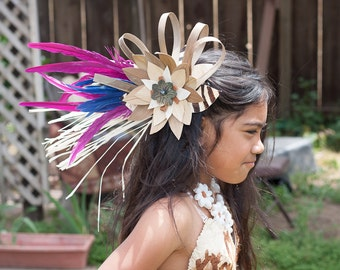 Tahitian And Cook Island Costume Set..Tapa Cloth, Hau Grass With Feathers Hip Hei And Lauhala With Tapa Cloth Hair Clip.