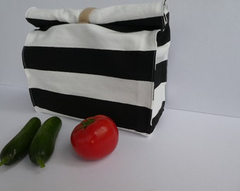 Reusable lunch bag, Adult lunch tote, Lunch box, Striped white and black, Food bag, Waterproof bag, water resistant organizer, kitchen ideas