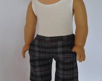 Black and Maroon Plaid Boy Shorts  made to fit American Boy Doll  18 inch Doll Clothes