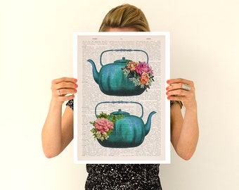 Vintage teapots poster, Tea time art, Kitchen art, Kitchen wall art, Tea time, tea party gift TVH238PA3
