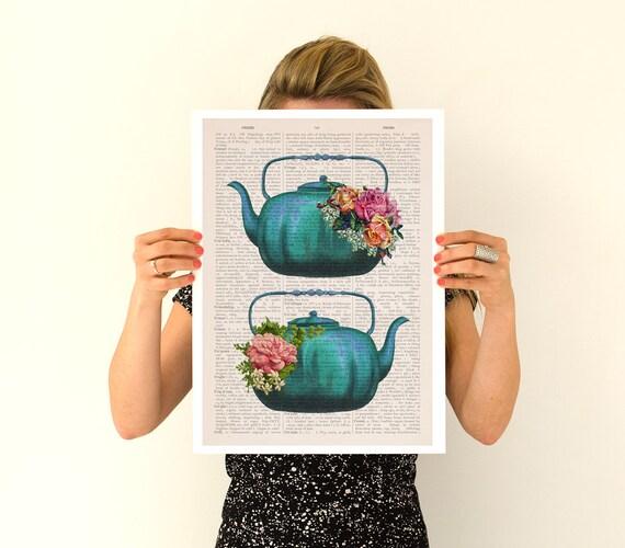 Vintage teapots poster, Tea time art, Kitchen art, Kitchen wall art, Tea time, Tea party gift, Kitchen decor, Wall art, Wall decor TVH238PA3