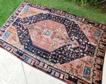 "Antique Vintage Persian Handmade Wool Area Rug ""Miles"""