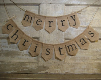 Ready to Ship, Merry Christmas Burlap Banner, Merry Christmas Bunting, Christmas Holiday Decor, Burlap Bunting Garland, Rustic Christmas