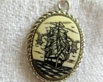 Vintage Sterling Silver Scrimshaw Ship Pendant Unique Collectors Piece Hand Carved Jewelry