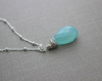 Aqua Blue Chalcedony necklace, Sterling silver, Glowing Necklace, Wire wrapped gemstone, Peruvian blue chalcedony, teardrop gem