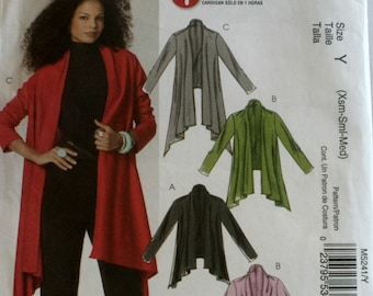 Misses Jacket Sewing Pattern - Misses Cardigan Sewing Pattern -  McCalls 5241 - New - Uncut - Size 4 - 6 - 8 - 10 -12 - 14