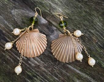 Shell, Pearl, and Jewel Earrings