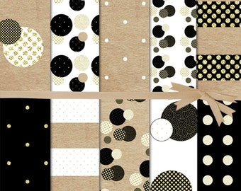 Graduation Digital Paper:Black and  White Polka Dot Digital Paper, Gold and Black Swiss Dot Digital Paper, Confetti Digital Paper, #15048