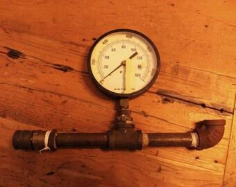 Steam punk Gauge , Water Pressure Gauge , Mid Century Plumbing