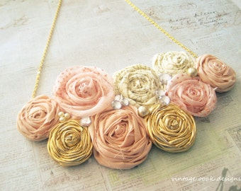 Blush & Gold Statement Necklace, RosetteStatement Necklace,Rosette Necklace, Rosette Jewelry,Rosette Bib Necklace,Rosette Bridesmaid Jewelry