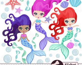Cute Mermaid Clipart, Mermaid Party Printable, Scrapbook, Ocean Clip Art
