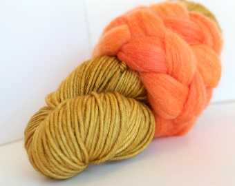 Thrummed MITTEN Kit - Gold/Orange- Hand dyed Merino yarn, roving and pattern
