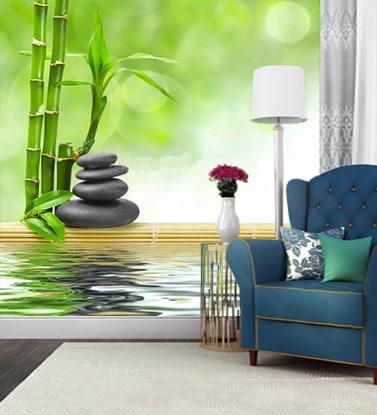 selbst selbstklebende fototapete bambus und steinen foto. Black Bedroom Furniture Sets. Home Design Ideas
