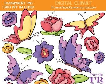 SPRING - Digital Clipart, Clip art. 14 images, 300 dpi. jpeg, png files. Instant download.