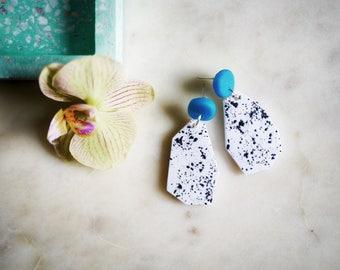 Statement earrings modern, clay earrings, terrazzo earrings, polymer clay earrings, geometric abstract earrings, large statement jewelry