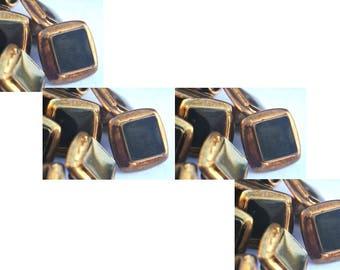 SALE-10 Vintage buttons, square Jewel plastic trim button bronze color base with black center 13mm