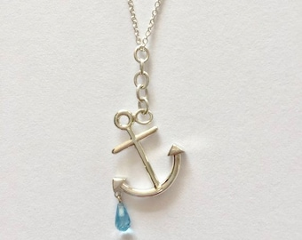 Anchor  Necklace with Blue Topaz