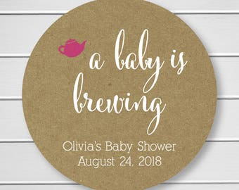 A Baby is Brewing Tea or Coffee Shower Stickers, Baby Shower Labels (#245-KR-WT-B)