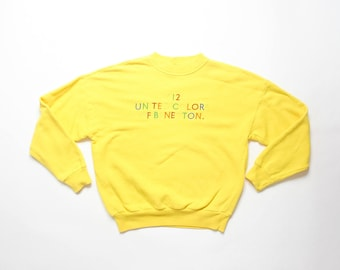United Colors of Benetton Sweatshirt 012 Spell Out Embroidered Pullover 90s Athleisure Aesthetic 1990s Yellow Shirt Top Slouchy Sweater
