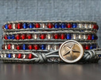 READY TO SHIP Independence Day wrap bracelet - patriotic - stars and stripes - usa - red clear blue seed beads on silver leather
